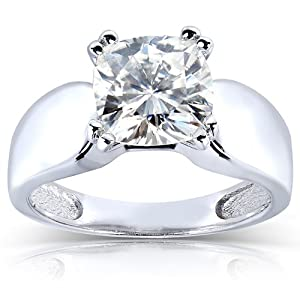 Cushion cut Moissanite Solitaire Engagement Ring 2 CTW 14k White Gold