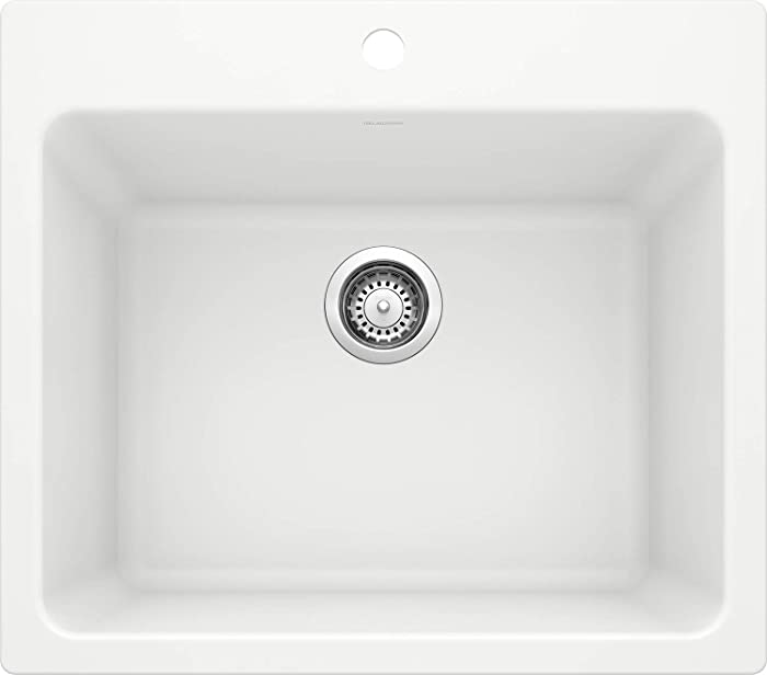 "BLANCO, White 401927 LIVEN SILGRANIT Drop-In or Undermount Utility Laundry Sink, 25"" X 22"""