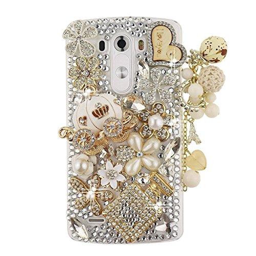 Spritech(TM) 3D Handmade Fashion Girl Woman Bling Luxury Coloured Diamond Design with Crystal Rhinestone?Pumpkin car Clear Hard Caver Case for LG G4
