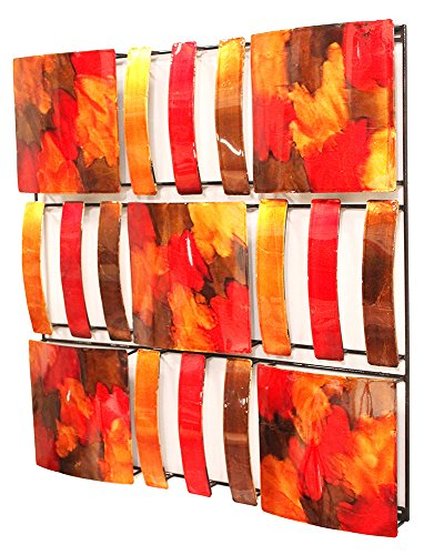 Heather Ann Creations 9 Abstract Geometric Square Panels Modern Metal Hanging Decorative Wall Art, 24.4