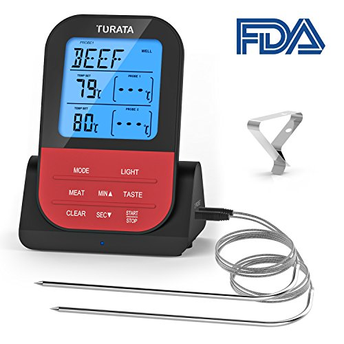 Meat Thermometer Turata Wireless Remote Digital Food Meat Thermometer with Dual Probe for Kitchen Smoker BBQ Grill (Dual Bbq Grill)