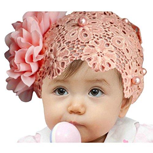 Doinshop coloré Baby Kids dentelle fleur bandeau cheveux Bow Band accessoires coiffure (rose)
