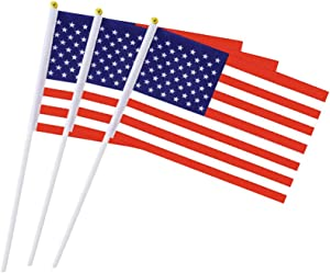 USA Flag American Flags US Hand Held Small Stick Mini Flags for Sport Parade Party Olympic Festival Decorations 1 Dozen (12 pack)