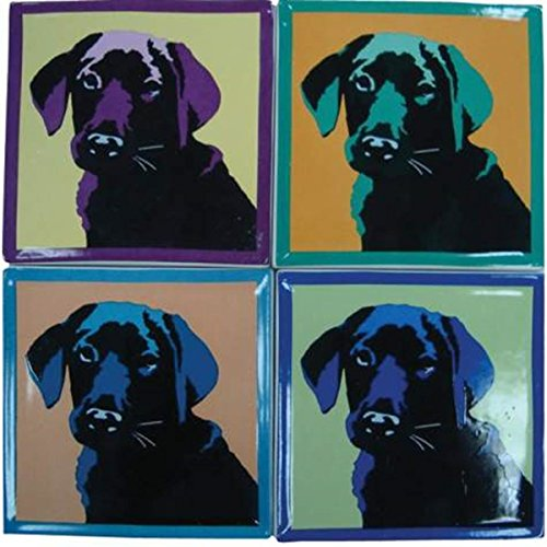 WL SS-WL-15362, 4 Inch Square Pop Art Inspired Black Lab Ceramic Coasters Set of 4, 4