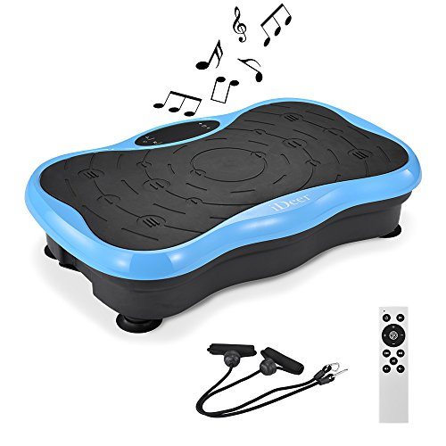 iDeer Vibration Platform Fitness Vibration Plates,Whole Body Vibration Exercise Machine w/Remote Control &Bands,Anti-Slip Fit Massage Workout Trainer Max User Weight 330lbs (Blue AUS09004) by IDEER LIFE