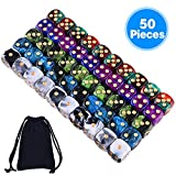 AUSTOR 50 Pcs 6 Sided Dice Set 5 Two Tone Colors Dice with Gold Pips Round Corner with a Free Pouch