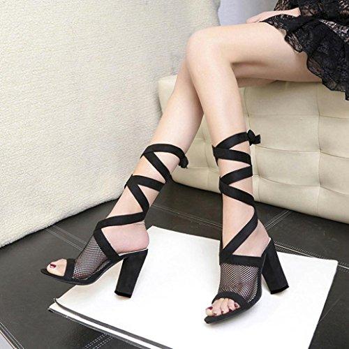 à à Lolittas Noir Engrener Hauts Talons Sandales Poisson Cheville Bloc Chaussures Lacets Bouche qqxOYp5
