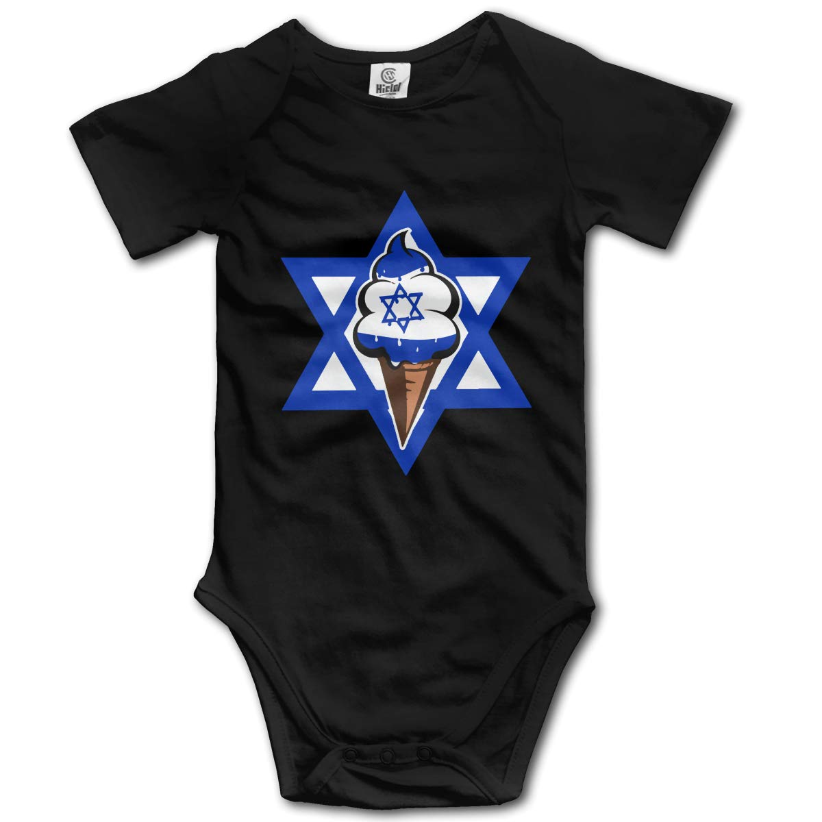 Toddler Israeli Flag Funny Ice Cream Short Sleeve Climbing Clothes Bodysuits Jumpsuit Suit 6-24 Months