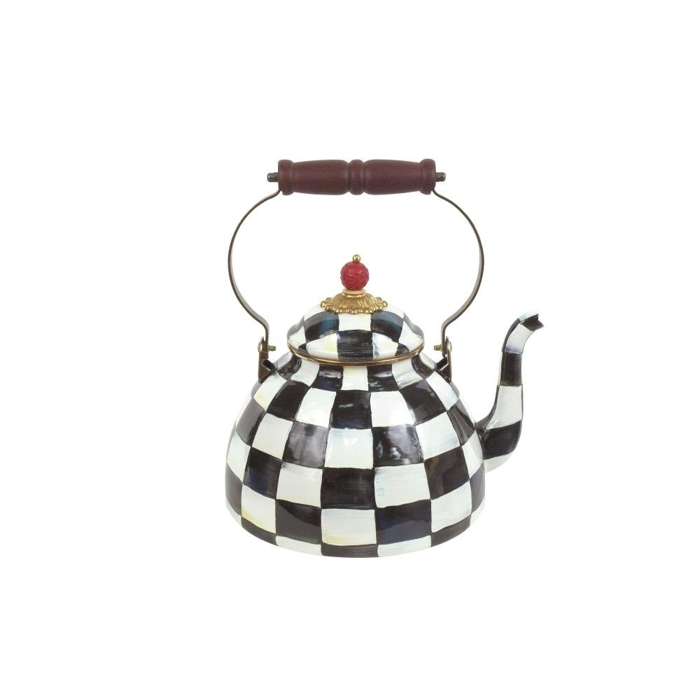 MacKenzie-Childs Courtly Check Enamel Tea Kettle 3 Quart
