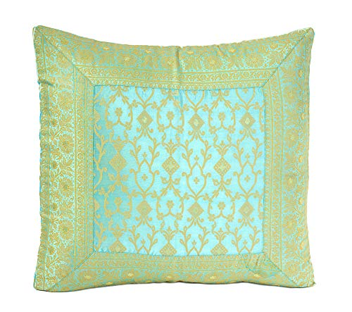 Embroidered Oversize Pillow Cover, hand stitched from Sari Fabric. Thick fabric with Vine Paisley Pattern and intricate 4 sided border. Produced in India and Imported into the USA. (24x24