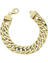 14k Yellow Gold Bold Semi Solid Curb Link Bracelet (13 mm, 7.5 inch)