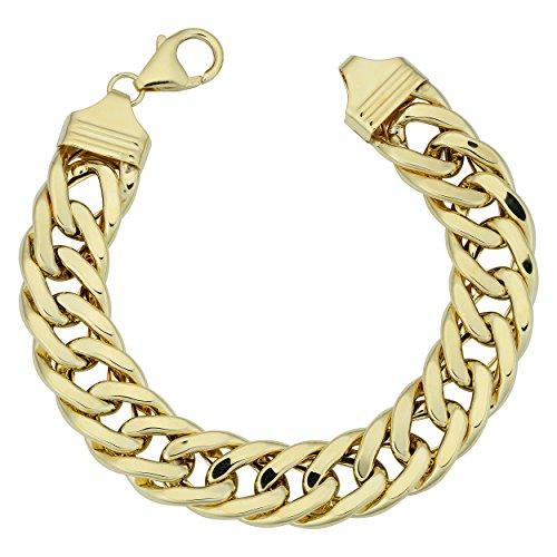 Bold Curb Link Bracelet - 14k Yellow Gold Bold Semi Solid Curb Link Bracelet (13mm, 7.5 inch)