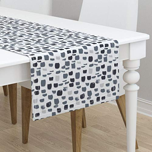 Table Runner - Blue Abstract Baby Baby Baby Gray Brush Strokes Nursery Mod Abstract Blue by Crystal Walen - Cotton Sateen Table Runner 16 x 90