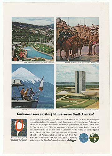 - Pan Am Airlines - South America - Vintage Ad - 1960's (Panagra Airlines) # 656