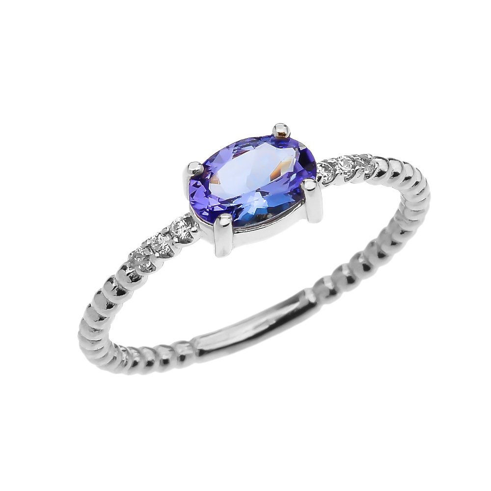 10k White Gold Dainty Diamond and Oval Tanzanite Beaded Stackable/Promise Ring(Size 8.75)