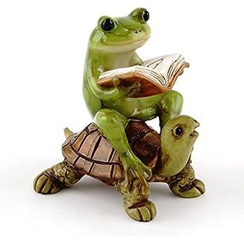Top Collection Miniature Fairy Garden U0026 Terrarium Frog Reading Book On  Turtle Statue, Small