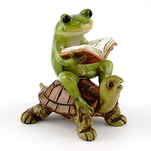 (Top Collection Miniature Fairy Garden & Terrarium Frog Reading Book on Turtle Statue,)