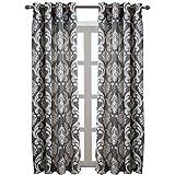 NAPEARL European Style Jacquard Semi-Blackout Grommet Top Window Curtain Panel Set of 2 Panels (Gray, 52'' Wx96 L)