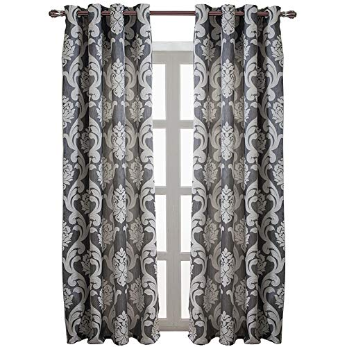 NAPEARL European Style Jacquard Semi-Blackout Grommet Top Window Curtain Panel Set of 2 Panels (Gray, 52