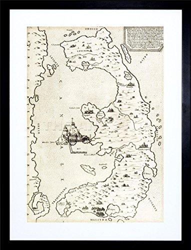 MAP GREEK ISLAND CORFU ANTIQUE GREECE FRAMED ART PRINT PICTURE & MOUNT (Corfu Greece Map)