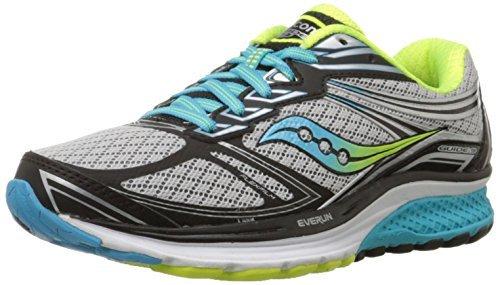 Saucony Women's Guide 9 Running Shoe, Grey/Blue/Citron, 8 N...