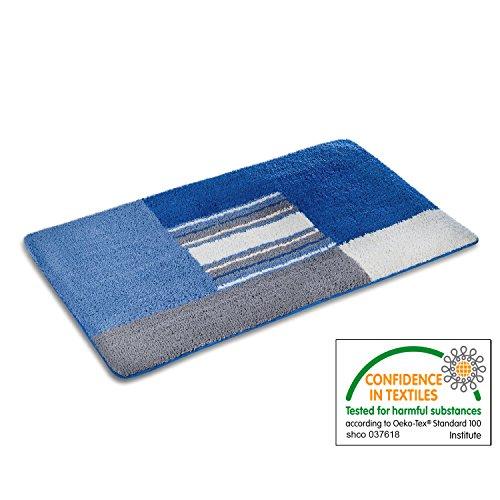 casa pura Bath Mat - Bath Rug Max - Soft Pile, Non-Slip, Blue and Grey - 20