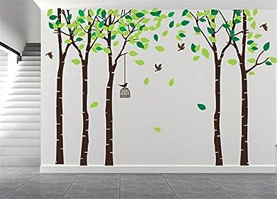 "AmazingWall 180X264cm/70.9x103.9"" Cartoon Large Tree Wall Sticker Living Room Bedroom Kids' Room Nursery Decor Home Decorations Removeable 1PCS/SET"