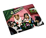 Sheltie Large Tempered Cutting Board 4 Dogs Playing Poker
