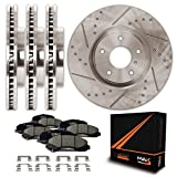 #4: Max KH015833 Front + Rear Premium Slotted & Drilled Rotors with Ceramic Pads & Hardware Combo Brake Kit