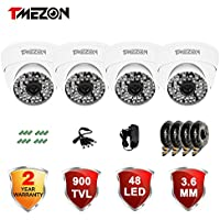 TMEZON 4 Pack 1/3 3.6mm 900TVL 960H Day Night Vision Dome CCTV Home Security Camera With IR Cut Filter 48PCS Infrared IR Leds Outdoor Camera