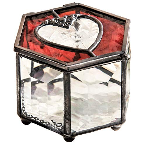 - J Devlin Box 778 Ruby Red Heart Stained Glass Jewelry Keepsake Box Decorative Beveled Glass Trinket Box Romantic Gift