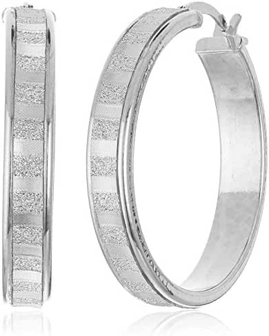 Sterling Silver Glitter-Patterned Hoop Earrings