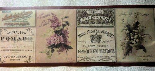 Soap Labels Bathroom Flowers Wallpaper Border - Brown 687691. - Wallpaper Borders For Bathrooms: Amazon.com