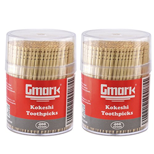 Gmark Ornate Wooden Toothpicks with Strong Holder 800 ct (2 Packs of 400), 2.6