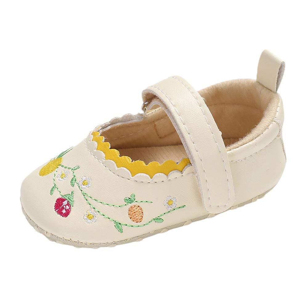 XUANOU Infant Newborn Baby Girls Shoe Embroidery Soft Crib Anti-Slip Princess Shoes
