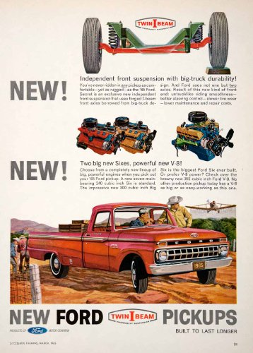 1965 Ad Ford Twin-I-Beam Pickup Truck Independent Suspension Aircraft Farm Ranch - Original Print Ad Pickup Ranch