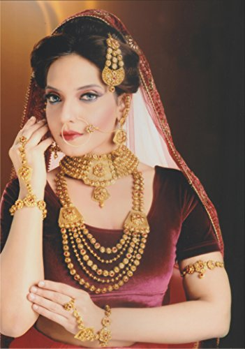 Traditional Bollywood Style Gold Plated Indian Necklace Earrings Bridal Set Jewelry by Shiv_Collection