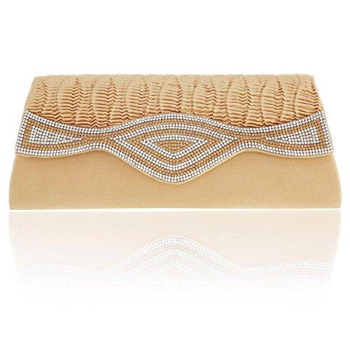 Gold Damara Rhinestones Party Satin Flap Irregular Bags Womens fw0rx0FUq8