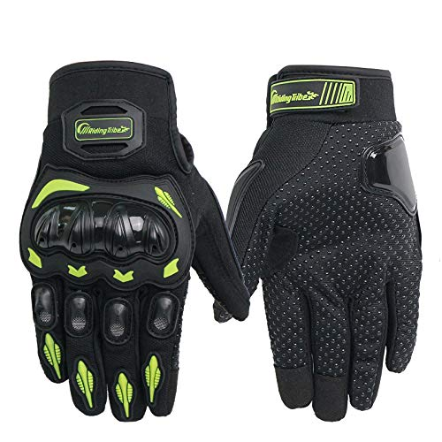 ETbotu Motorcycle Gloves - Unisex Outdoor Breathable Moto Riding Protective Gear Non-Slip Touch Screen Guantes Green L