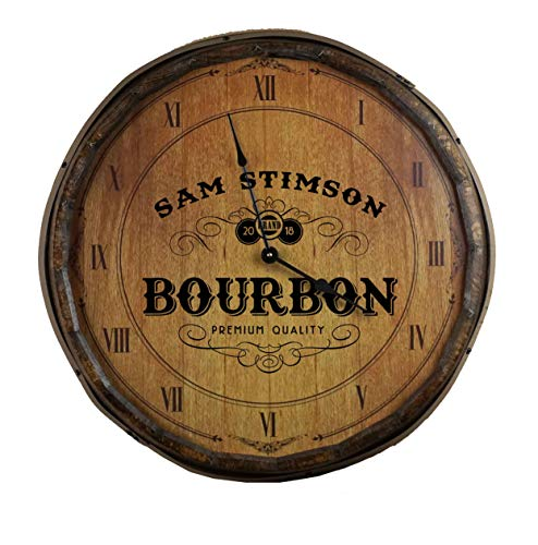 Personalized Premium Quality Bourbon Decorative Barrel Lid Clock ()