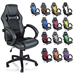 TRESKO Racing Style Faux Leather Office Chair Executive Chair Swivel Chair Black, Padded armrests, Racer Gaming Chair…
