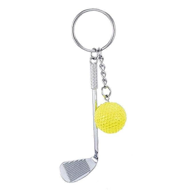 Llavero De La Pelota De Golf Campo De La Raqueta Llavero Cadena Linda Mini Metal Palos De Golf Llavero Creativo Deportes Llavero De Claves (Amarillo)