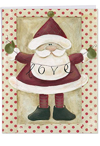 (Artistic 'Santa Banners' Merry Christmas Greeting Card Gift - Big Size 8.5 x 11 Inch With Big Envelope - Santa Claus Holding Inspirational Holiday Love Banner 'Santa Banners')