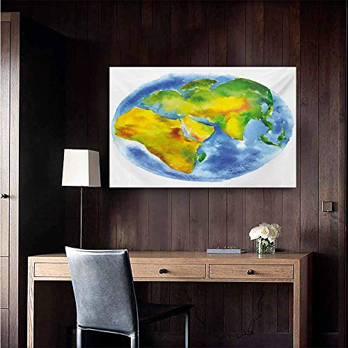 duommhome Earth Abstract Painting Globe of Earth Painted in Watercolors Cartography Geography Continents Natural Art 35