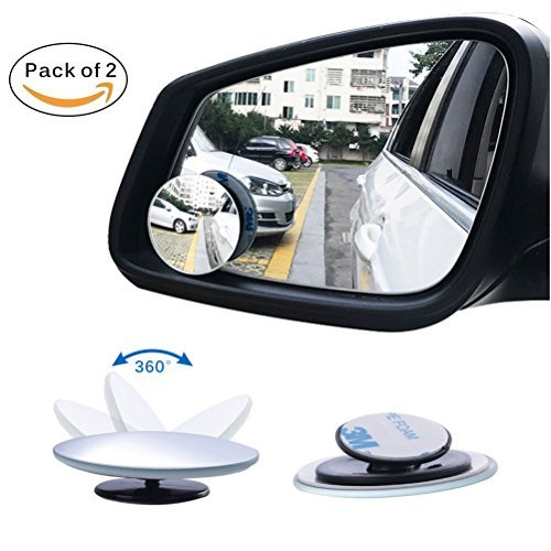 """Viesyled Blind Spot Mirror, 2 Pack Round HD Glass Parking Rear Mirror, 2"""" Wide Angle 360°Rotate 30°Sway Frameless Convex Rear View Mirrors for All Car SUV Truck"""