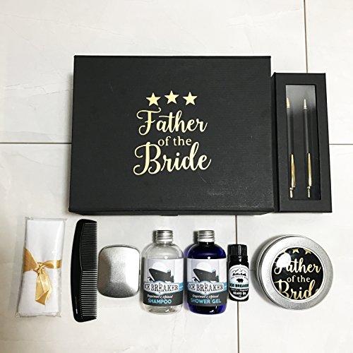 Deluxe Father of the Bride wedding Morning nero e oro regalo riempito con wedding Morning Essentials
