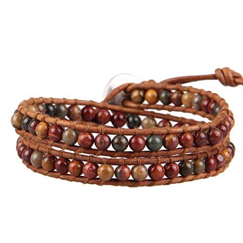 (KELITCH Picasso Jasper Beads 2 Strand Brown Leather Wrap Bracelet)