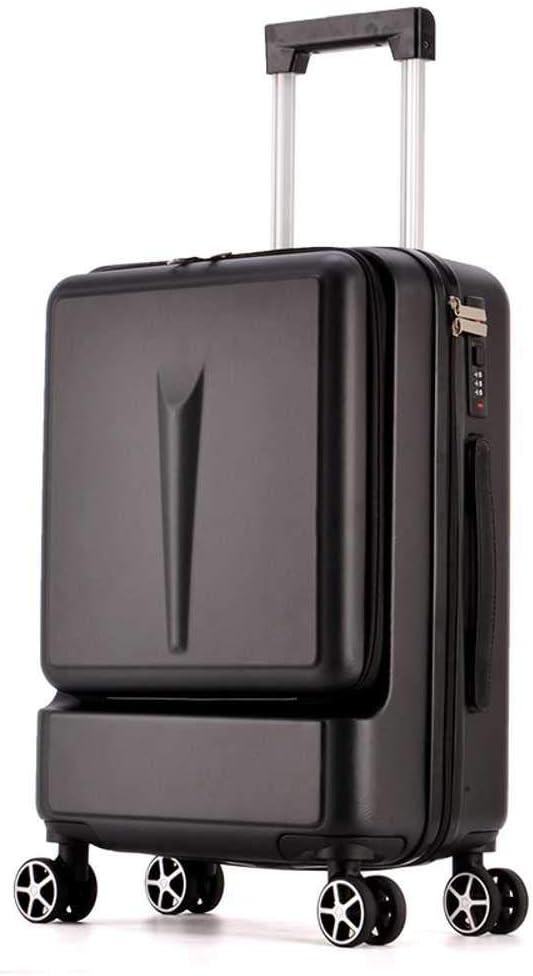 Maleta de Viaje para Mujer con Bolsillo Frontal de 24 Pulgadas, Caja de contraseñas de 20 pies, Negro (Negro) - 6941074350506
