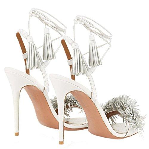 Sandali Con Tacco Comodi Per Le Donne Sandali Nappe Da Donna Con Lacci Con Tacco Alto Sandali Con Tacco Alto Bianco 12cm