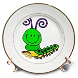 3dRose All Smiles Art - Animals - Cute Funny Green Caterpillar Eating Taco Cartoon - 8 inch Porcelain Plate (cp_291198_1)